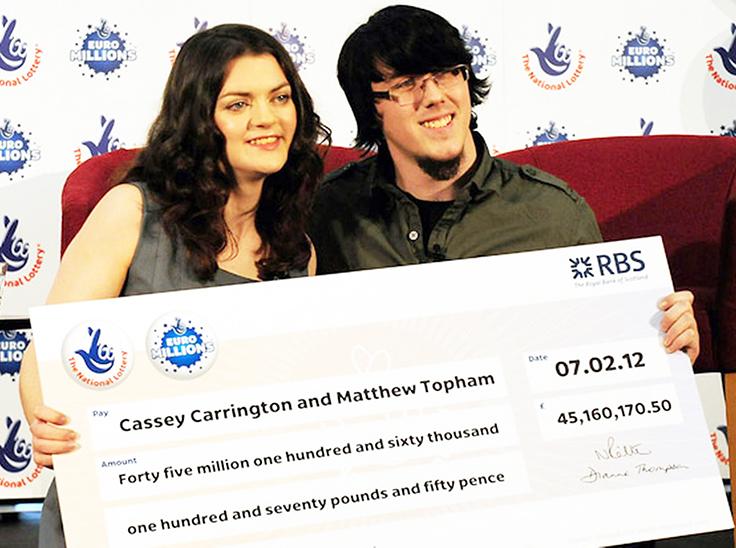 Lottery winners Matt Topham and Cassey Carrington