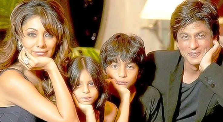 Shah Rukh Khan and wife Gauri with son Aryan and daughter Suhana.