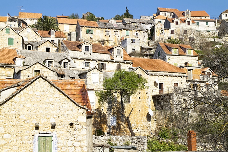 Village Lozisca in the hills on island Brac in Croatia
