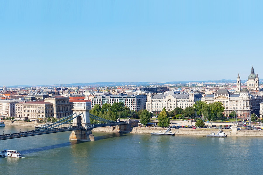 Panoramic view Budapest from a hill Gelert. Hungary