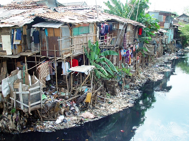 Substandard housing in a slum near Jakarta, Indonesia