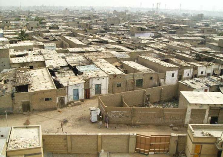 Roof top view of Machar Colony houses