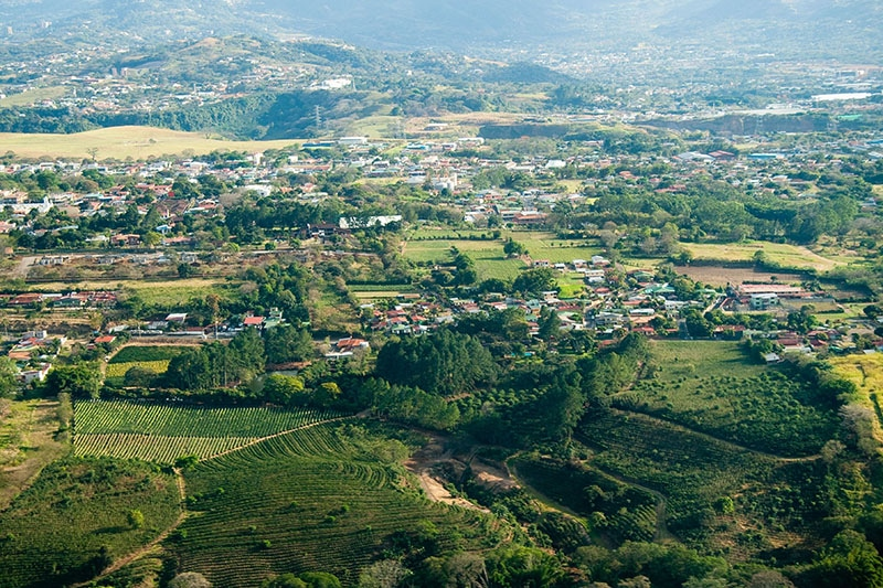 Aerial view of San Jose city in Costa Rica.