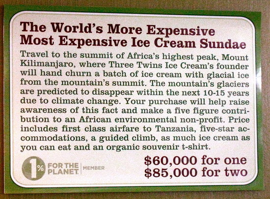 Twins Ice Cream Sundae from Mt. Kilimanjaro