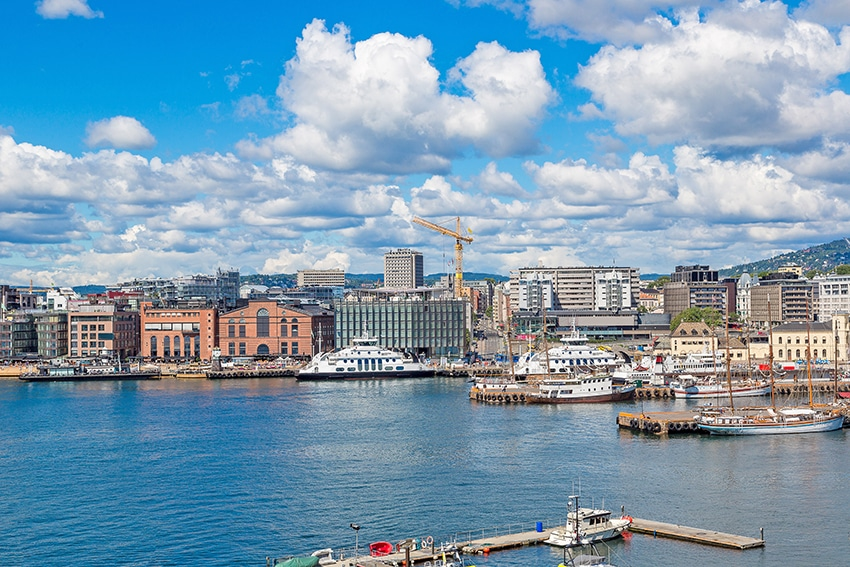 The Oslo Norway Harbor is one of Oslo's great attractions in Oslo, Norway in a summer day